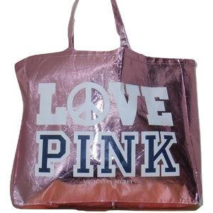 VS PINK Pink Metallic LOVE PINK Tote Bag RARE NWT